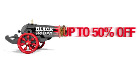 Old black and red cannon with with red wood wheels and the text BLACK FRIDAY viewed from side firing the red message UP TO 50% OFF with speed effect on white background. 3D Illustration