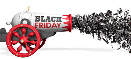 Old white and red cannon with the words BLACK FRIDAY firing a jet of discount paper coupons from 10 to 80 percent in black and white on a white background. 3D Illustration Фото со стока