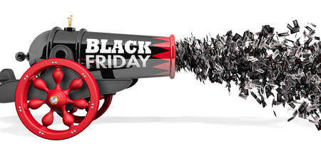 Old black and red cannon with the words BLACK FRIDAY firing a jet of discount paper coupons from 10 to 80 percent in black and white on a white background. 3D Illustration Stock Photo