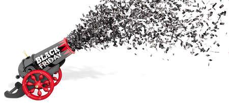Old black and red cannon with the words BLACK FRIDAY firing a jet of discount paper coupons from 10 to 80 percent in black and white on a white background. 3D Illustration