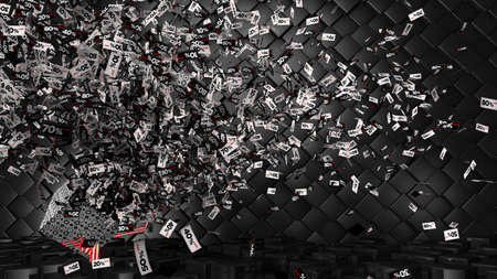 Thousands of coupons from 10 to 80 percent discount in a white, black and red regtangular shape coming out of a gift box on a checkered floor and black cube background. 3D Illustration