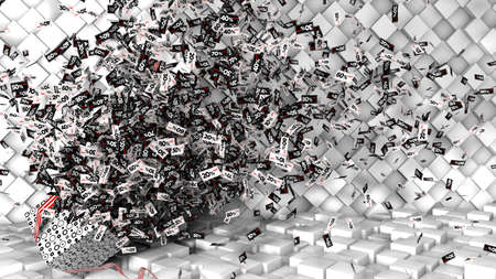 Thousands of coupons from 10 to 80 percent discount in a white, black and red regtangular shape coming out of a gift box on a checkered floor and white cube background. 3D Illustration Фото со стока