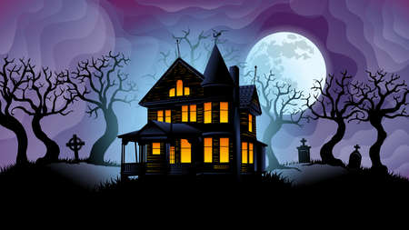 Old haunted house with yellow lights on surrounded by silhouettes of trees with a cemetery behind with big white moon behind over purple sky with fog shaped waves background. Vector image Ilustrace