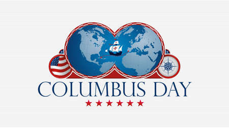 COLUMBUS DAY Greeting card. Blue map of America and Europe with red frame and a caravel in the middle, ornament stars, USA flag and compass inside circles on white background. Vector image