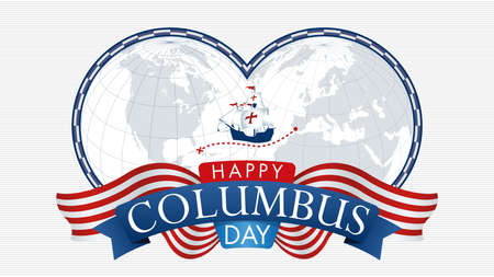 HAPPY COLUMBUS DAY Greeting card. Map of America and Europe with blue frame and a caravel in the middle. Title inside a blue ribbon with ornament flags on white background. Vector image Ilustrace