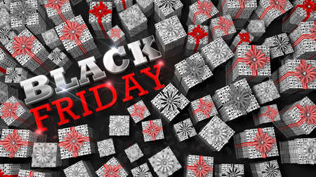BLACK FRIDAY lettering. Top view of white gift boxes of different sizes with red ribbon surrounding thick glossy letters in white and red on a reflective black surface. 3D Illustration