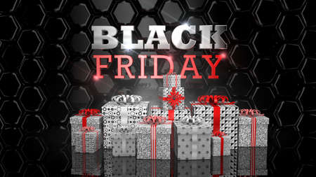 BLACK FRIDAY lettering. Front view of white gift boxes of different sizes with red ribbon, behind thick glossy letters in white and red on a texture of reflective black hexagons. 3D Illustration