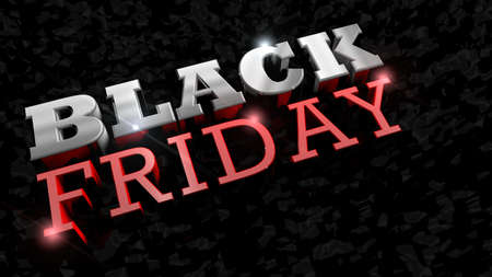 Close up of BLACK FRIDAY lettering. Glossy thick letters in white and red on a rough black texture. 3D Illustration