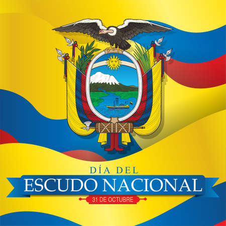 DIA DEL ESCUDO NATIONAL Greeting card - NATIONAL SHIELD DAY in Spanish language - Coat of arms of the Republic of Ecuador on a background of blue and red yellow tricolor flags. Vector image