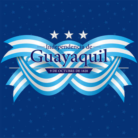 INDEPENDENCE DE GUAYAQUIL Greeting card - GUAYAQUILS INDEPENDENCE in Spanish language - Title on a blue and white flag adorned with stars on a dark blue background with stars texture. Vector image