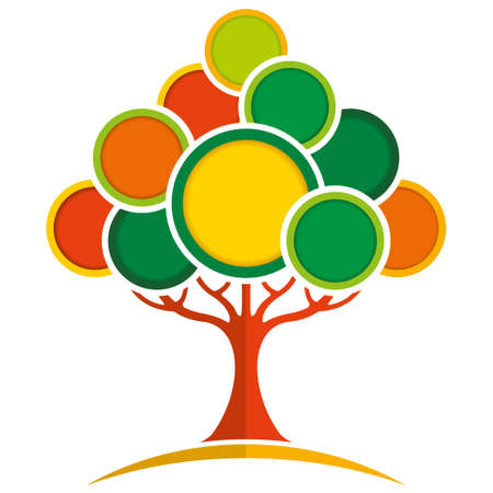 Abstract tree formed by red trunk and green, orange and red circles of different size on white background. Vector image
