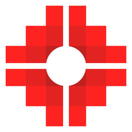 Chakana, Andean square cross in red color. It is the most important symbol of Andean culture on white background. Vector image Çizim