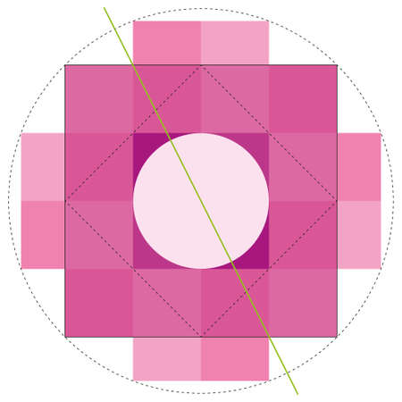 Chakana construction method, Andean square cross in pink color. It is the most important symbol of Andean culture on white background. Vector image