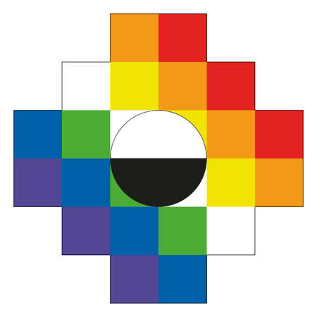 Chakana, Andean square cross in red, yellow, blue, green and purple color. It is the most important symbol of Andean culture on white background. Vector image Çizim