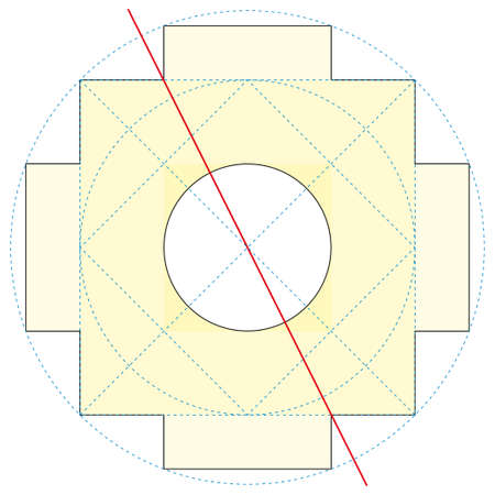 Chakana construction method, Andean square cross in yellow. It is the most important symbol of Andean culture on white background. Vector image