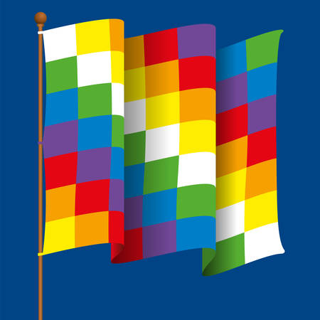 Wiphala is the flag of the Andean nation and the Aymara people. It is a quadrangular Andean symbol, it represents equality and harmony. Waving flag with flagpole formed by squares with the colors of the rainbow on blue background. Vector image Ilustrace