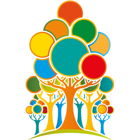 Group of abstract tree formed by orange trunk and blue, green, orange and red circles of different size on white background. Vector image Ilustrace