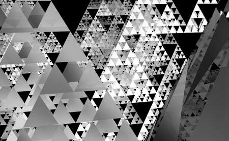 Gray Sierpinski triangle texture on black background. It is a fractal with the overall shape of an equilateral triangle, subdivided recursively into smaller equilateral triangles. 3D Illustration Reklamní fotografie