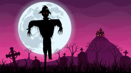 Black silhouette of scarecrow in the foreground in the middle of a cemetery with a haunted house on top of a mountain in the background. Night scene with purple and magenta sky with a giant moon behind the scarecrow. Vector image
