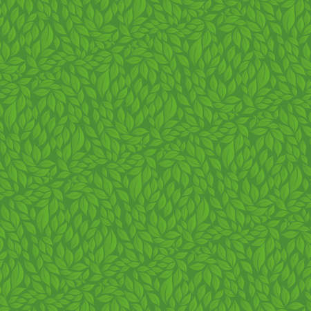 Texture of leaves of different size in green color on dark green background. Vector image