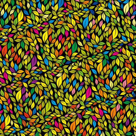 Texture of leaves of different size in green, yellow, blue and purple colors on black background. Vector image