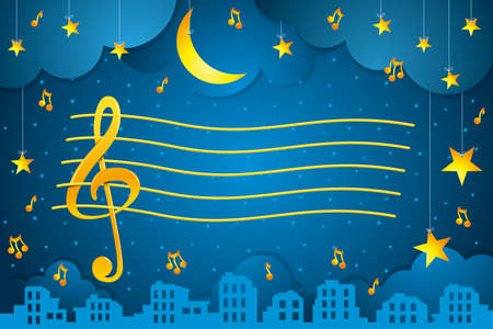 Drawing of golden pentagram with treble clef and musical notes floating in a starry sky with golden stars hanging on white threads and a city silhouette. Vector background
