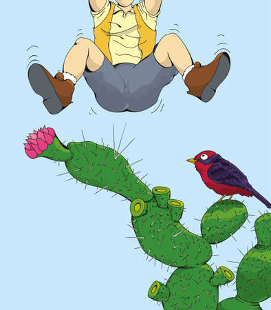 Drawing the bottom of a man leaping over a cactus after being pricked by one of its thorns as a bird watches over blue background. Vector image