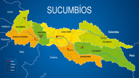 Political map of the province of Sucumbios in green and yellow on a blue background. Sucumbios is one of the 24 provinces of the Republic of Ecuador. Vector image Vector Illustration