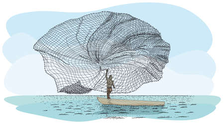 Handwerkliche Angeltechnik im Fluss Atarraya - Fischernetz in spanischer Sprache: Silhouette eines Mannes auf einem kleinen Kanu, der das Fischernetz in den Fluss wirft. Vektorbild