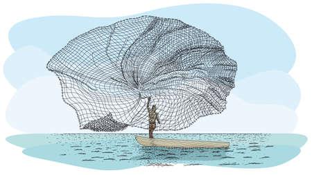 Técnica de pesca artesanal en río llamado Atarraya - Red de pesca en idioma español: Silueta de hombre en una pequeña canoa lanzando la red de pesca al río. Imagen vectorial