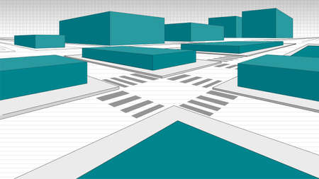 Detail of a 3-dimensional city map with green blocks simulating buildings and streets in white outlined with black line. Vector image 写真素材 - 137458979