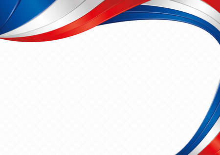 Abstract background with wave shapes with the blue, white, red colors of the flag of France or Paraguay to use as Diploma or Certificate