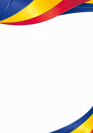 Abstract background with wave shapes with the blue, red, yellow colors of the flag of Chad to use as Diploma or Certificate Vetores