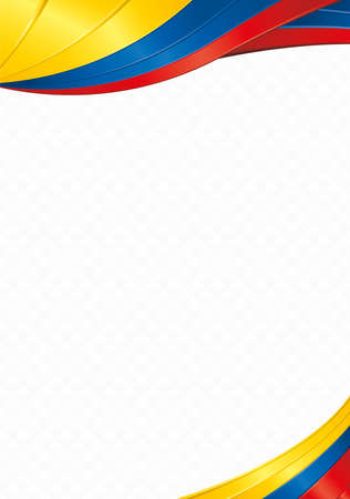Abstract background with wave shapes with the yellow, blue, red colors of the flag of Ecuador, Colombia or Venezuela to use as Diploma or Certificate Illustration