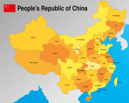 Political map of the Peoples Republic of China with the division of the provinces with their names in yellow and orange tones. Vector image