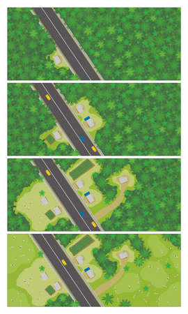 Top view graph shows in 4 steps how to start populating and deforesting to put cows an area in the middle of the jungle where a road was built. Vector image Ilustração Vetorial