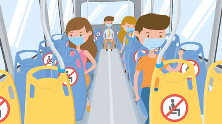 People in blue mask traveling by bus with seats with NO SITTING sign. Respecting social isolation, sitting in the designated seats to maintain a safe distance to avoid contagion. Vector image