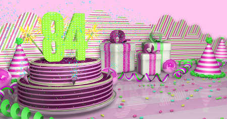 Purple round 84 birthday cake decorated with colorful sparks and pink lines on a bright table with green streamers, party hats and gift boxes with pink ribbons and candies on the table, on a pink background. 3D Illustration