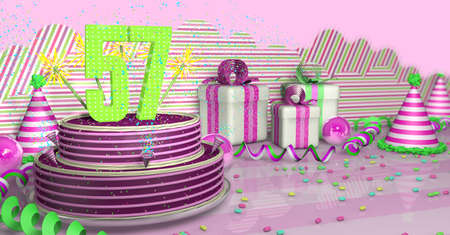 Purple round 57 birthday cake decorated with colorful sparks and pink lines on a bright table with green streamers, party hats and gift boxes with pink ribbons and candies on the table, on a pink background. 3D Illustration