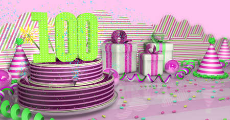 Purple round 100 birthday cake decorated with colorful sparks and pink lines on a bright table with green streamers, party hats and gift boxes with pink ribbons and candies on the table, on a pink background. 3D Illustration