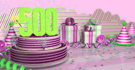 Purple round 500 birthday cake decorated with colorful sparks and pink lines on a bright table with green streamers, party hats and gift boxes with pink ribbons and candies on the table, on a pink background. 3D Illustration Фото со стока