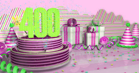 Purple round 400 birthday cake decorated with colorful sparks and pink lines on a bright table with green streamers, party hats and gift boxes with pink ribbons and candies on the table, on a pink background. 3D Illustration