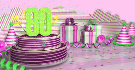 Purple round 80 birthday cake decorated with colorful sparks and pink lines on a bright table with green streamers, party hats and gift boxes with pink ribbons and candies on the table, on a pink background. 3D Illustration