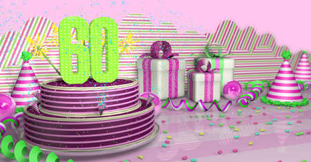 Purple round 60 birthday cake decorated with colorful sparks and pink lines on a bright table with green streamers, party hats and gift boxes with pink ribbons and candies on the table, on a pink background. 3D Illustration