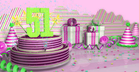 Purple round 51 birthday cake decorated with colorful sparks and pink lines on a bright table with green streamers, party hats and gift boxes with pink ribbons and candies on the table, on a pink background. 3D Illustration