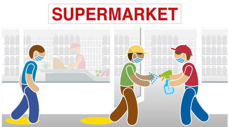 Simplified drawing of supermarket employee wearing a blue mask disinfecting a customer's hands with alcohol at the door of the store before entering. Vector image