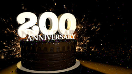 Anniversary 200 card. Round chocolate cake decorated with dragees of blue, red, yellow, green color with white numbers on a wooden table with artificial fire in the background and stars and colored dragees falling on the table. 3D Illustration