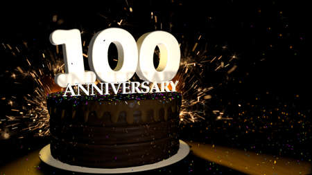 Anniversary 100 card. Round chocolate cake decorated with dragees of blue, red, yellow, green color with white numbers on a wooden table with artificial fire in the background and stars and colored dragees falling on the table. 3D Illustration