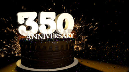 Anniversary 350 card. Round chocolate cake decorated with dragees of blue, red, yellow, green color with white numbers on a wooden table with artificial fire in the background and stars and colored dragees falling on the table. 3D Illustration