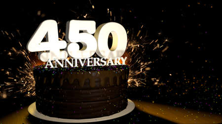 Anniversary 450 card. Round chocolate cake decorated with dragees of blue, red, yellow, green color with white numbers on a wooden table with artificial fire in the background and stars and colored dragees falling on the table. 3D Illustration